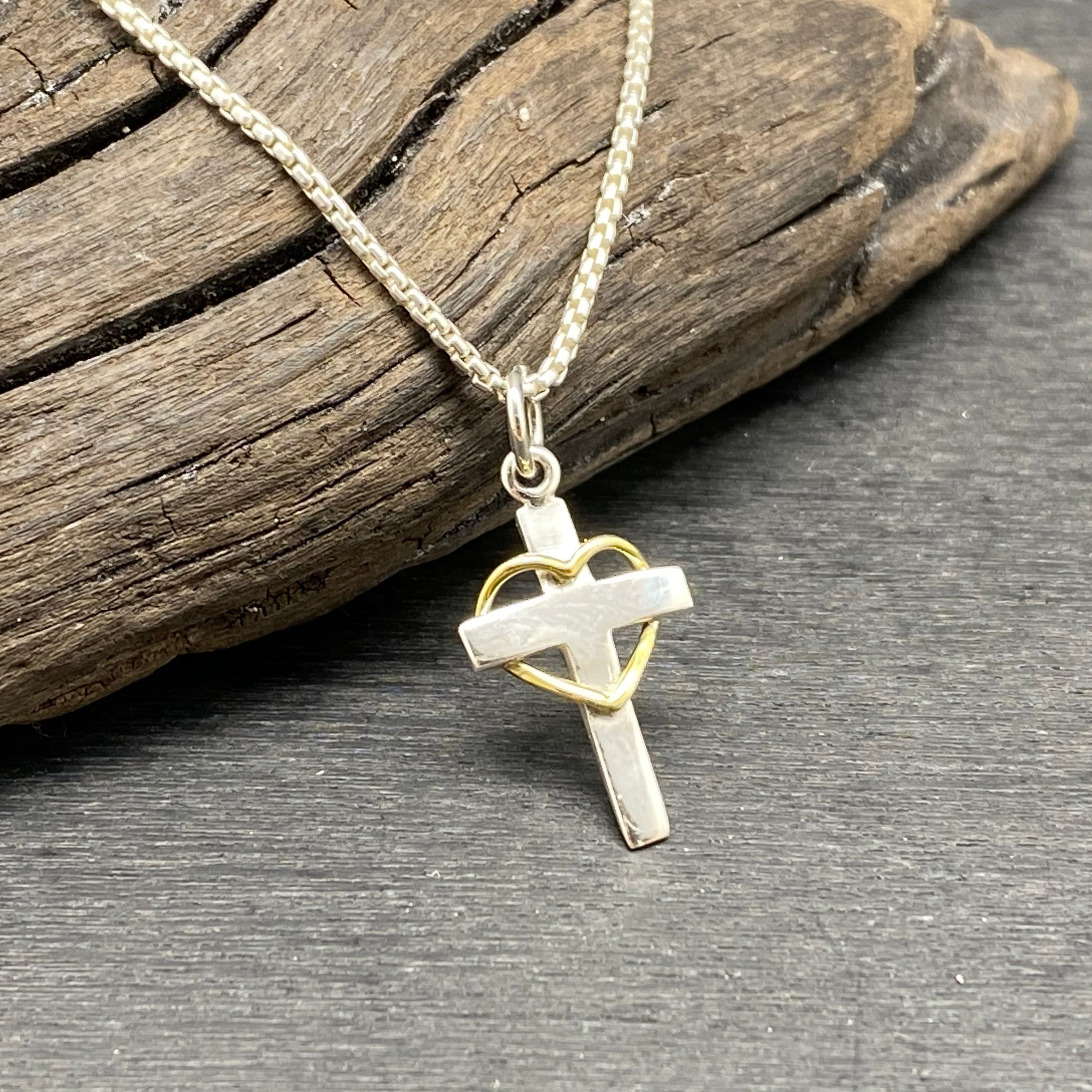Sterling Silver Two Tone Cross with Heart Charm