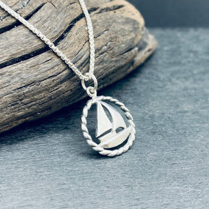 Sterling Silver Sailboat With Rope Necklace