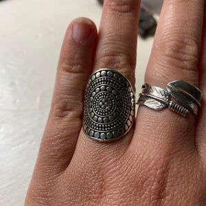 Sterling Silver Dotted Shield Ring