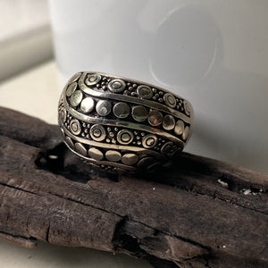 sterling silver dotted dome ring