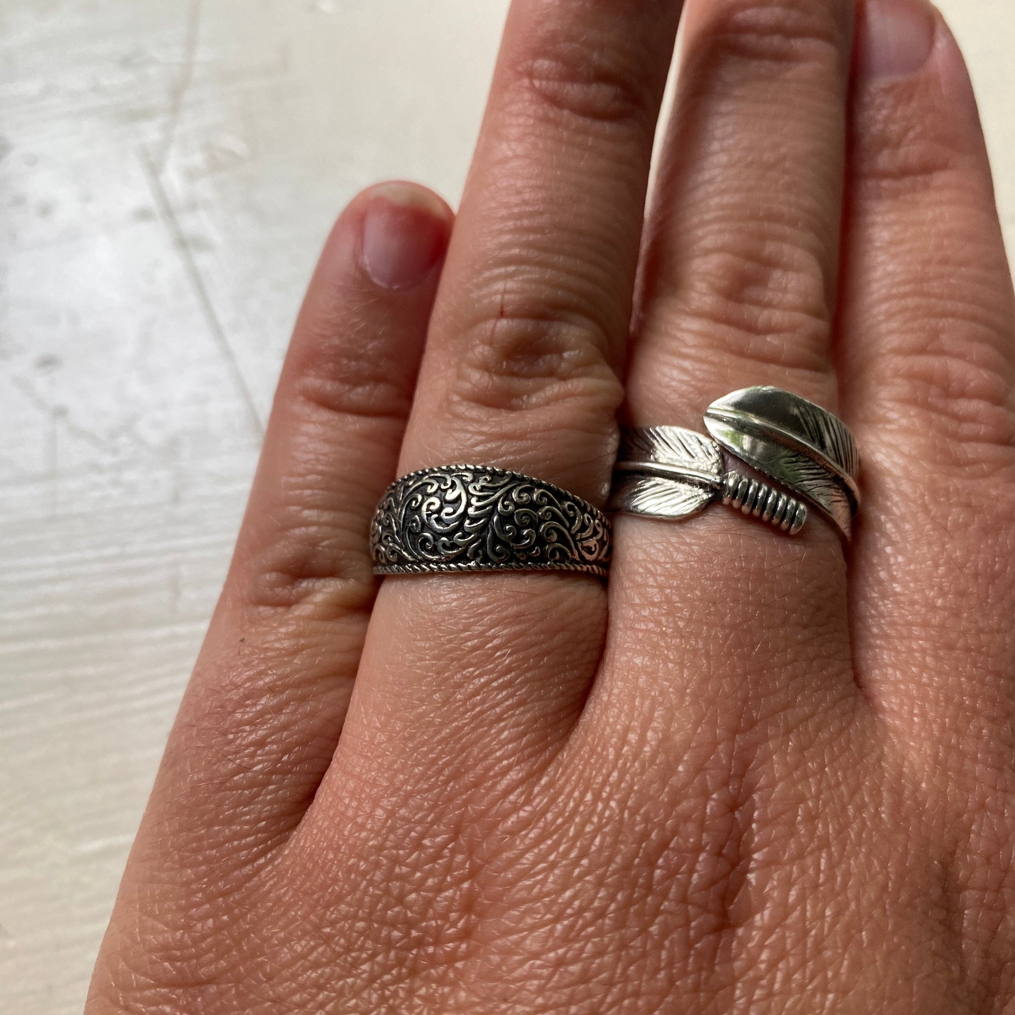 Sterling Silver Wide Band Ferns Ring