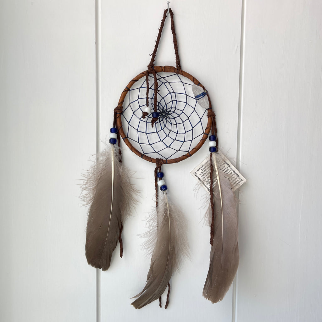 blue Native American Navajo dream catcher with crystal