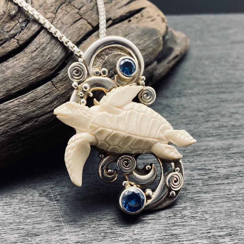 Sterling Silver Carved turtle with blue topaz necklace