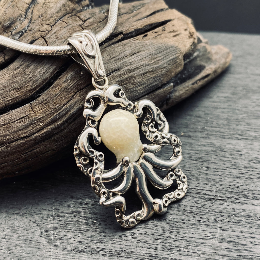 Sterling silver carved octopus necklace