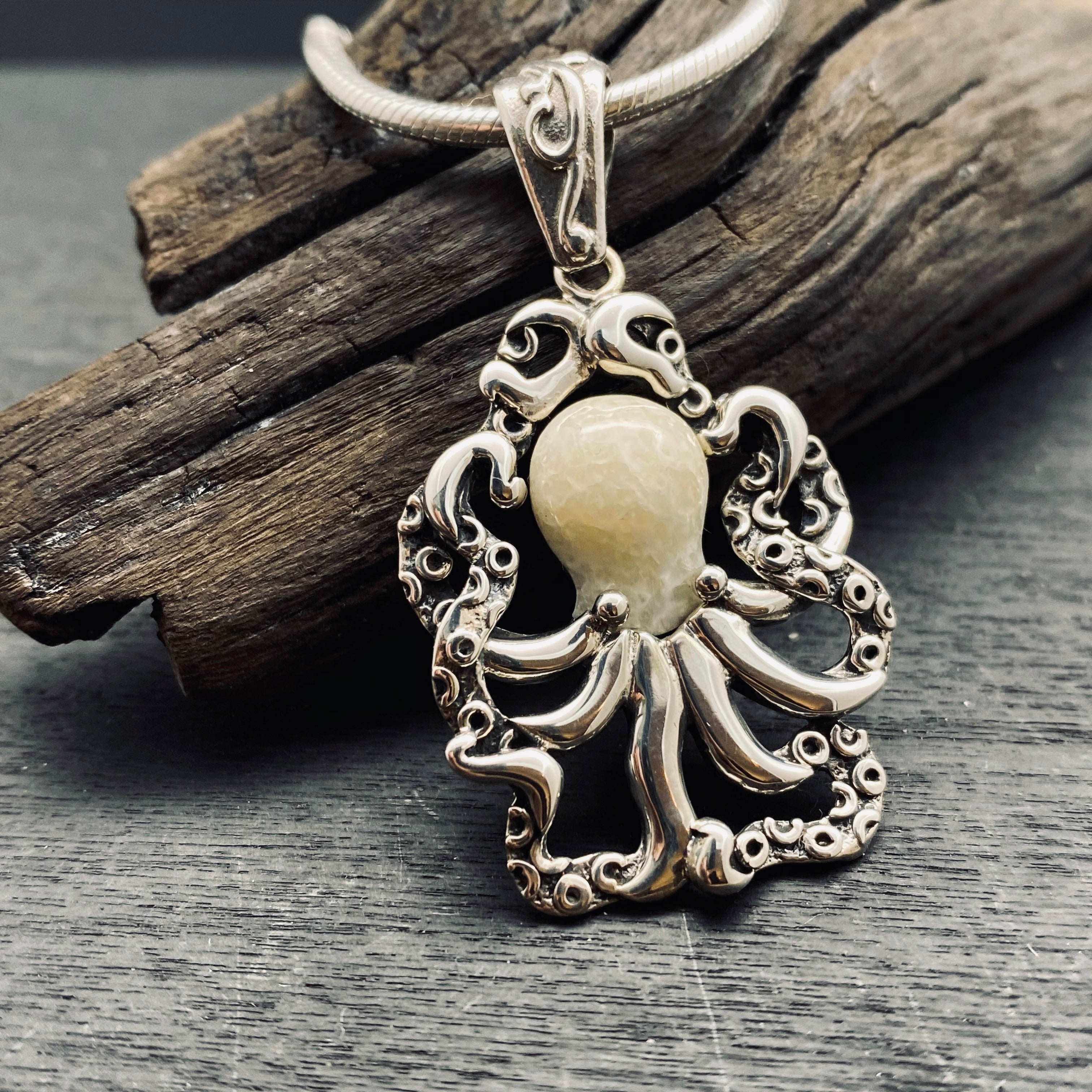 Sterling Silver Fossilized Walrus Tusk Octopus Pendant on Chain