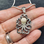 Load image into Gallery viewer, Sterling Silver Fossilized Walrus Tusk Octopus Pendant on Chain