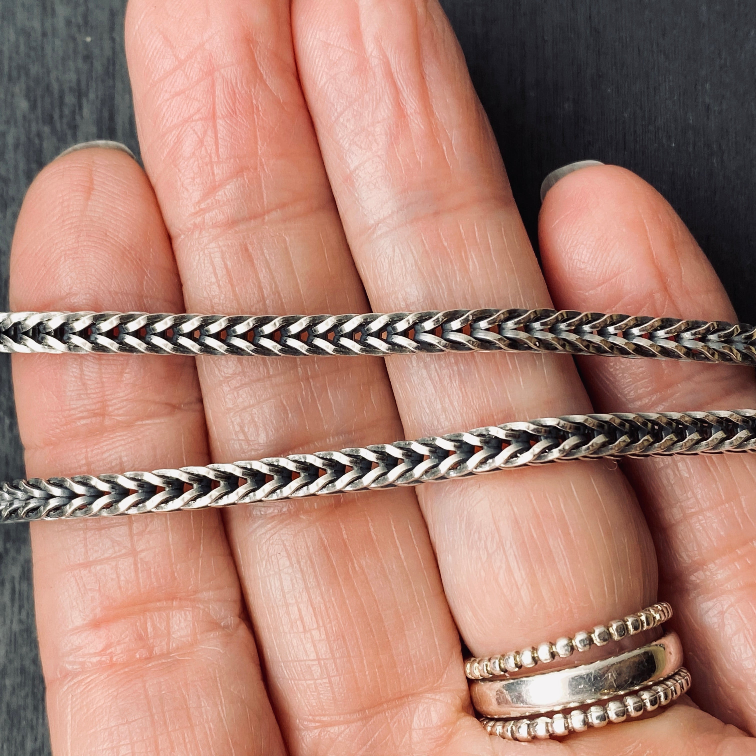 Sterling Silver Oxidized 3.5 mm Square Foxtail Chain