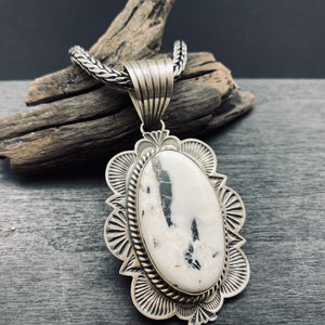 Navajo Artist Mary Ann Spencer Made Sterling Silver White Buffalo Turquoise Statement Pendant Necklace