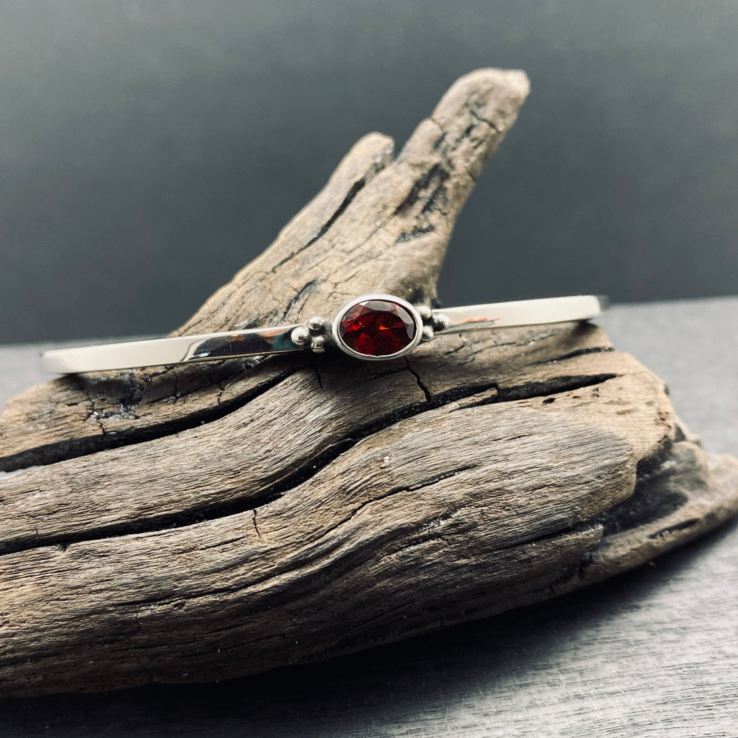 Sterling Silver Faceted Garnet Cuff Bracelet