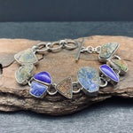 Load image into Gallery viewer, Sterling Silver Bracelet with Druzy, Lapis and Unpolished Lapis With Pyrite