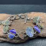 Load image into Gallery viewer, sterling silver bracelet with druzy, lapis, unpolished lapis