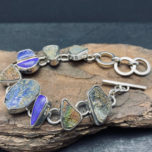 Sterling Silver Bracelet with Druzy, Lapis and Unpolished Lapis With Pyrite