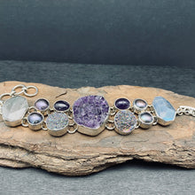 sterling silver amethyst cluster bracelet with labradorite and pearl
