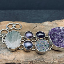 Sterling Silver Bracelet with Amethyst Crystal Cluster, Labradorite, Cultured Pearl, Polished Amethyst and Titanium Druzy