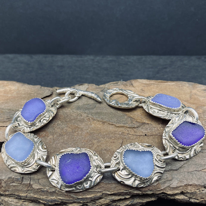 Sterling Silver Sea Glass Bracelet with Toggle Clasp