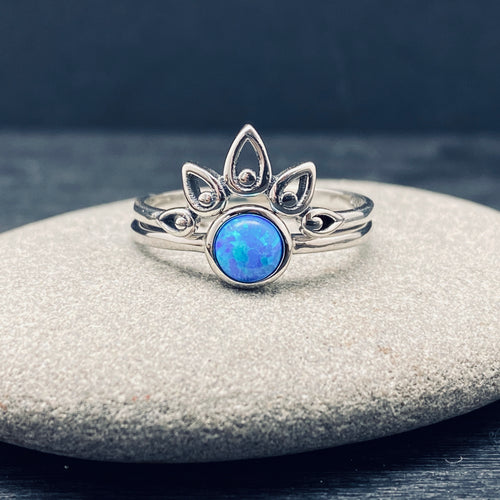 Sterling Silver Blue Opal and Crown Stacking Ring Set
