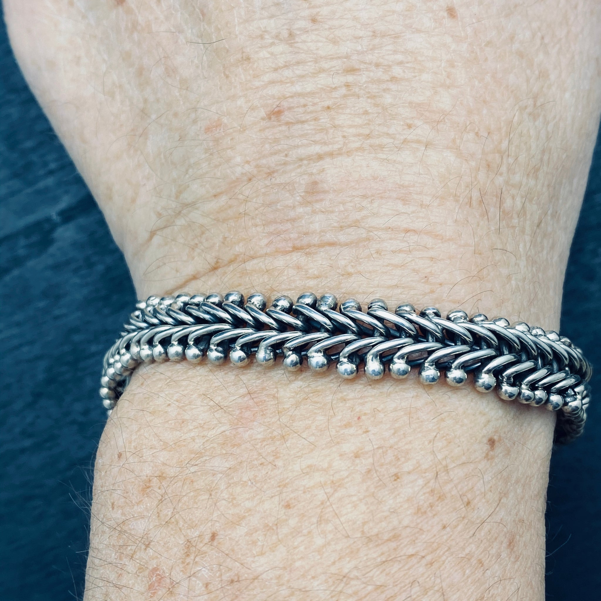 Sterling Silver Woven Statement Bracelet
