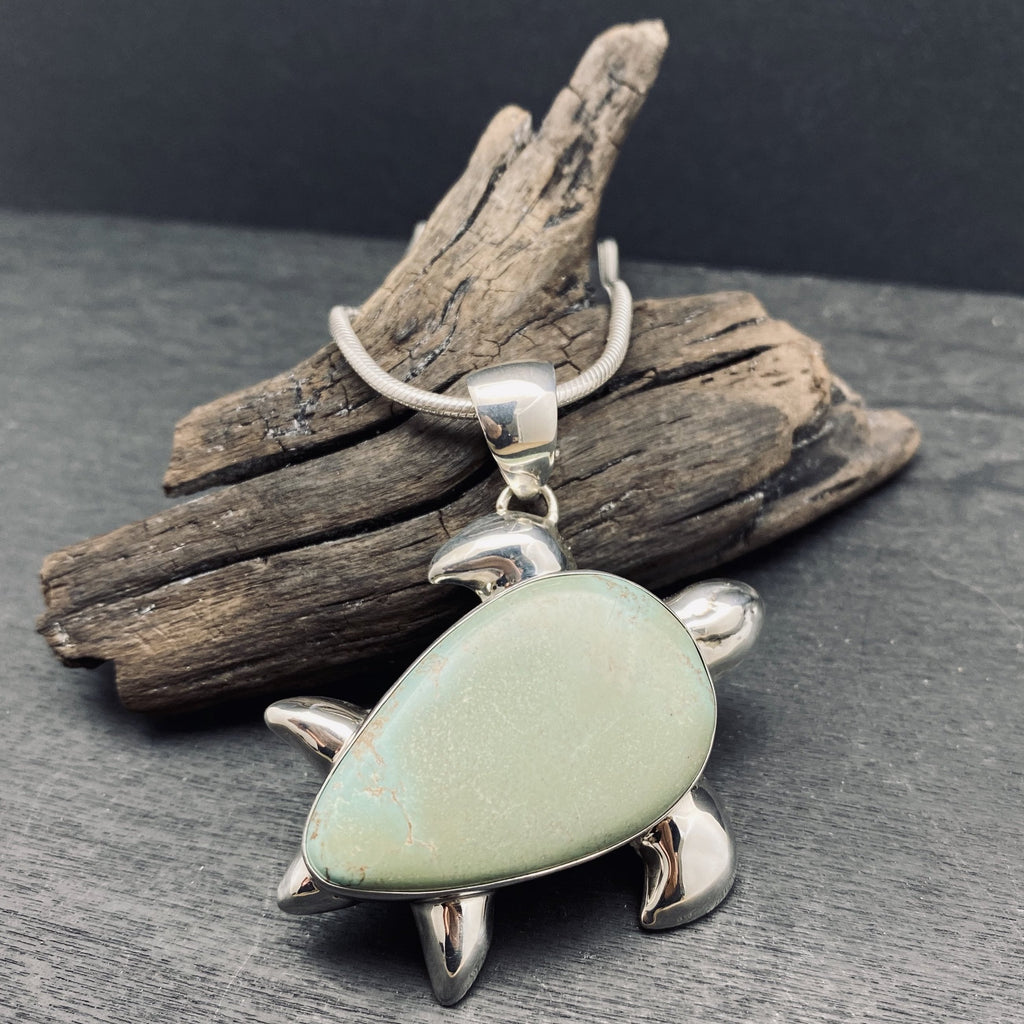 sterling silver turquoise turtle pendant