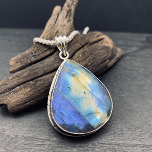 Sterling Silver Faceted Labradorite Pendant