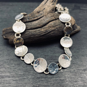 Sterling Silver Hammerd Circle Link Statement Necklace