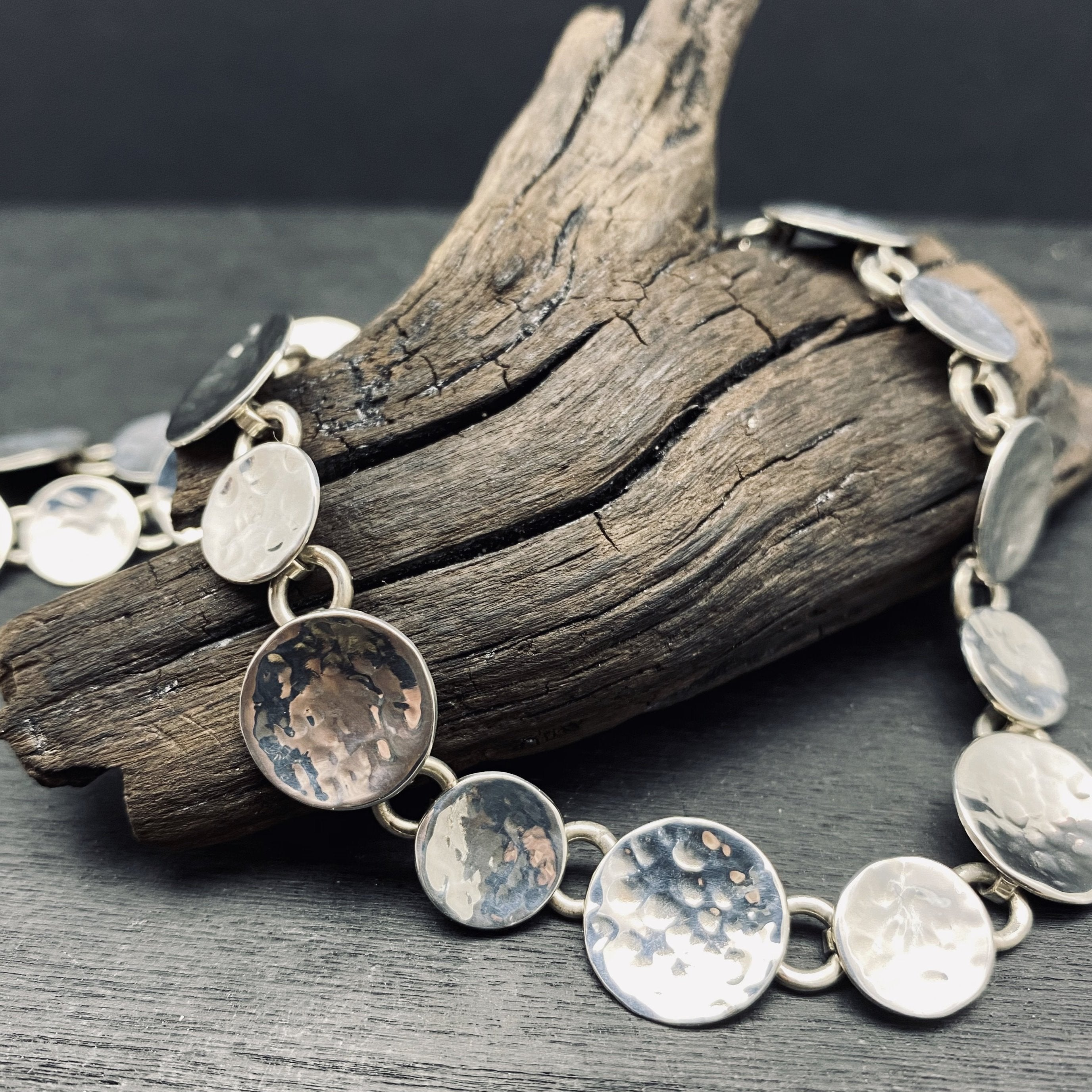 sterling silver hammered link necklace
