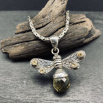 Load image into Gallery viewer, Sterling Silver Citrine Bumble Bee Pendant on Balinese Byzantine Chain