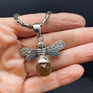 Sterling Silver Citrine Bumble Bee Pendant on Balinese Byzantine Chain
