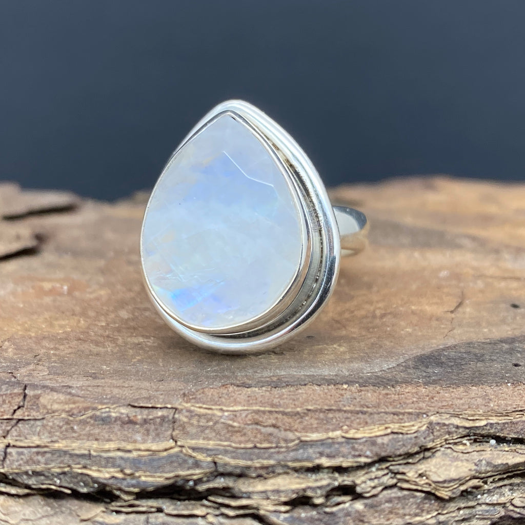 sterling silver rainbow moonstone faceted ring size 7