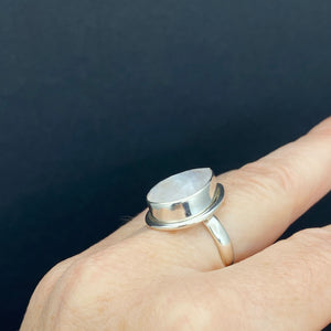 Sterling Silver Faceted Rainbow Moonstone Ring