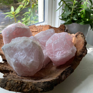 raw rose quartz crystal chunk
