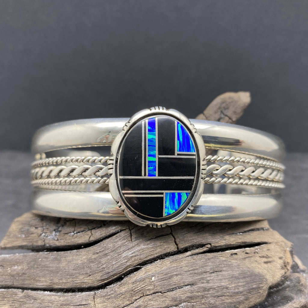 inlaid navajo onyx and opal bracelet