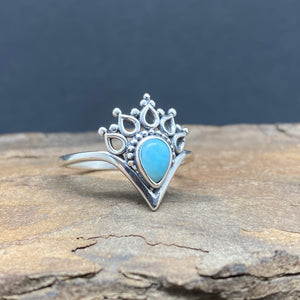 larimar dotted crown ring