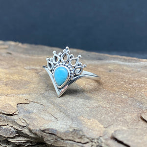 Sterling Silver Simple Larimar Dotted Crown Ring