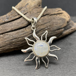 Load image into Gallery viewer, Sterling Silver Moonstone Sun Pendant