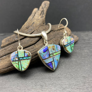 Inlay Opal Necklace And Earring Set By Navajo Artist