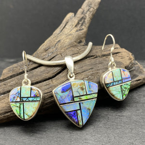 Navajo inlay  inlaid opal necklace and earring set