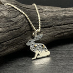 Load image into Gallery viewer, mixed metal celestial rabbit necklace with mountains