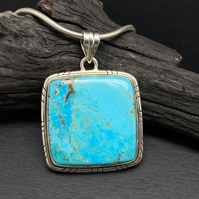sterling silver large kingman turquoise square stone pendant gemstone