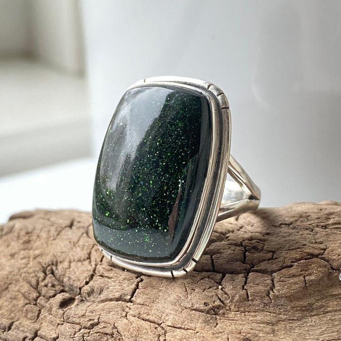 Sterling Silver Green Goldstone Ring