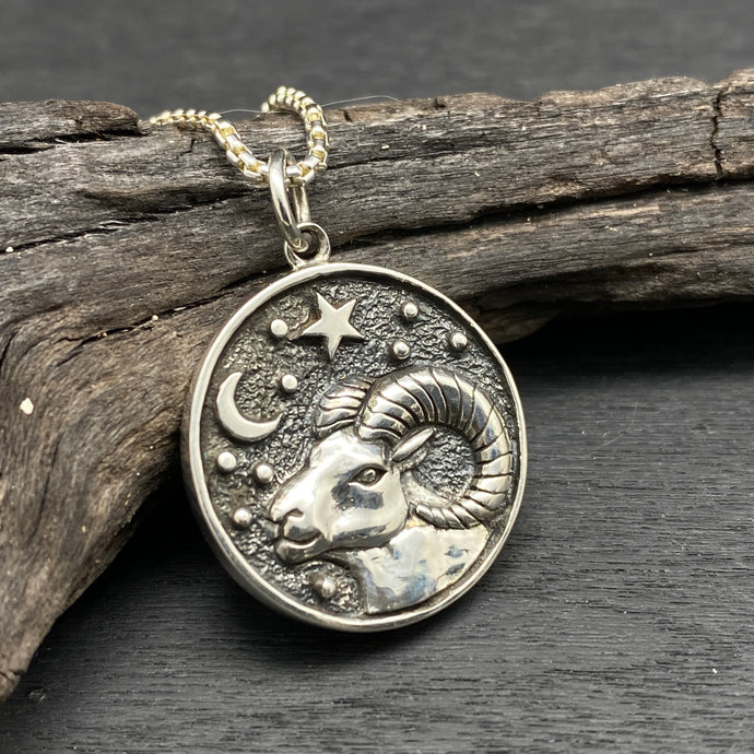 sterling silver aries zodiac necklace