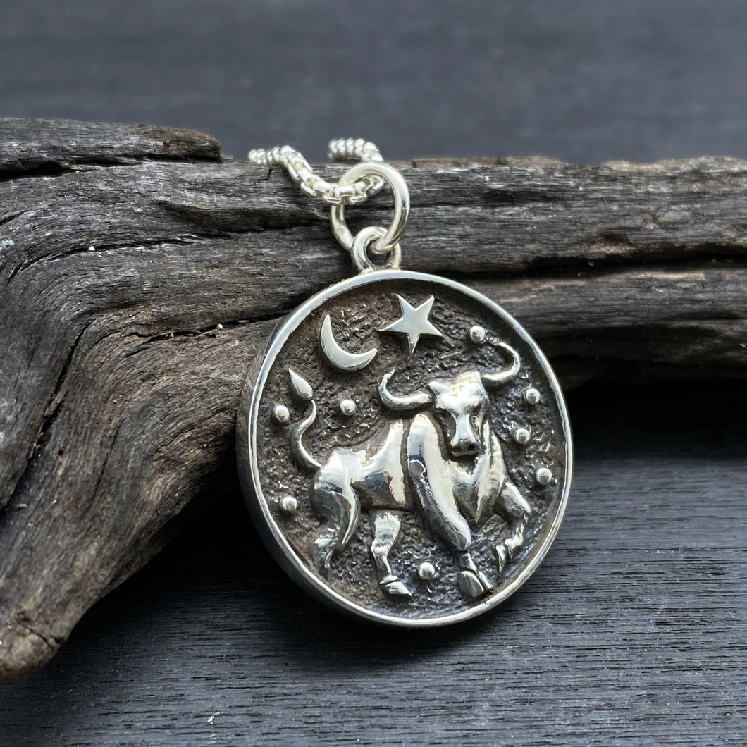 sterling silver Taurus zodiac necklace