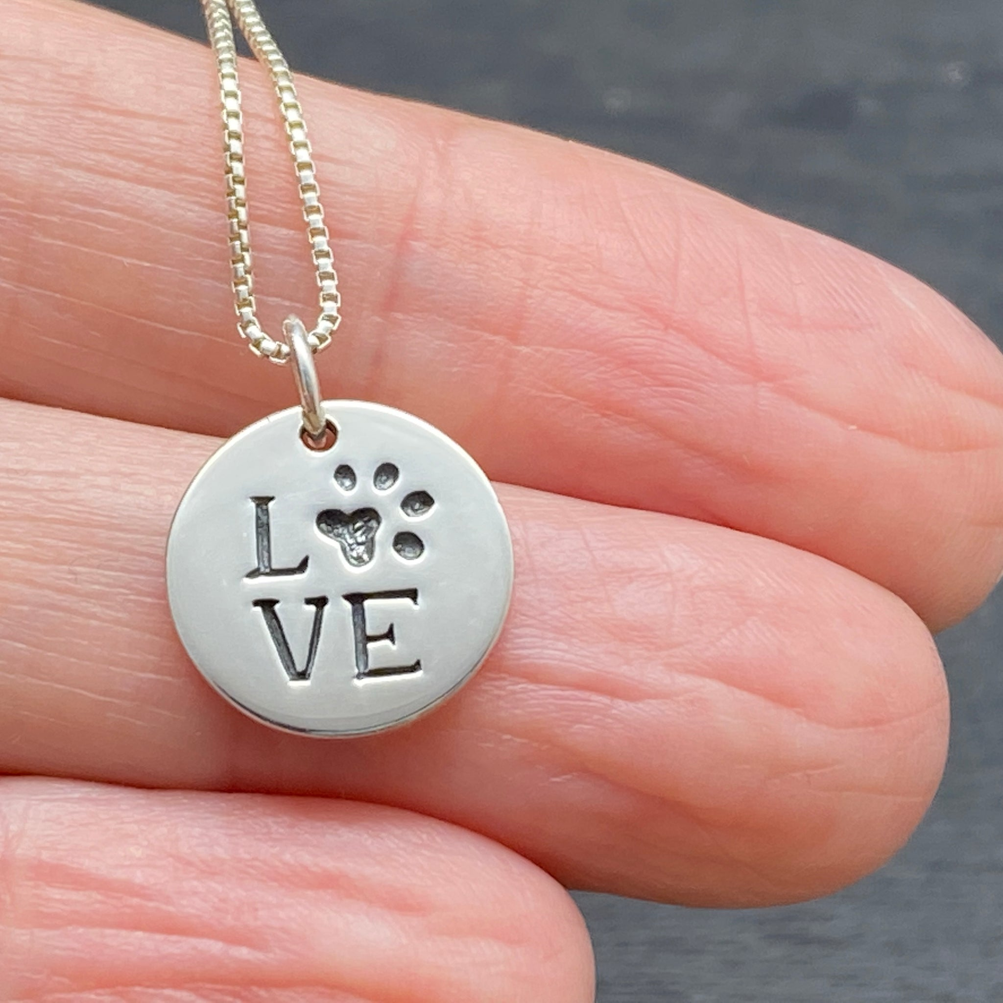 Sterling Silver Paw Print Love Necklace