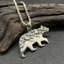 sterling silver mixed metals bear with mountain landscape night sky