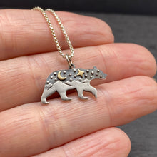 Sterling Silver Mixed Metals Bear with Mountain Landscape and Night Sky Necklace