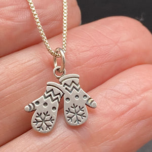 Sterling Silver Winter Snowflake Mittens Necklace