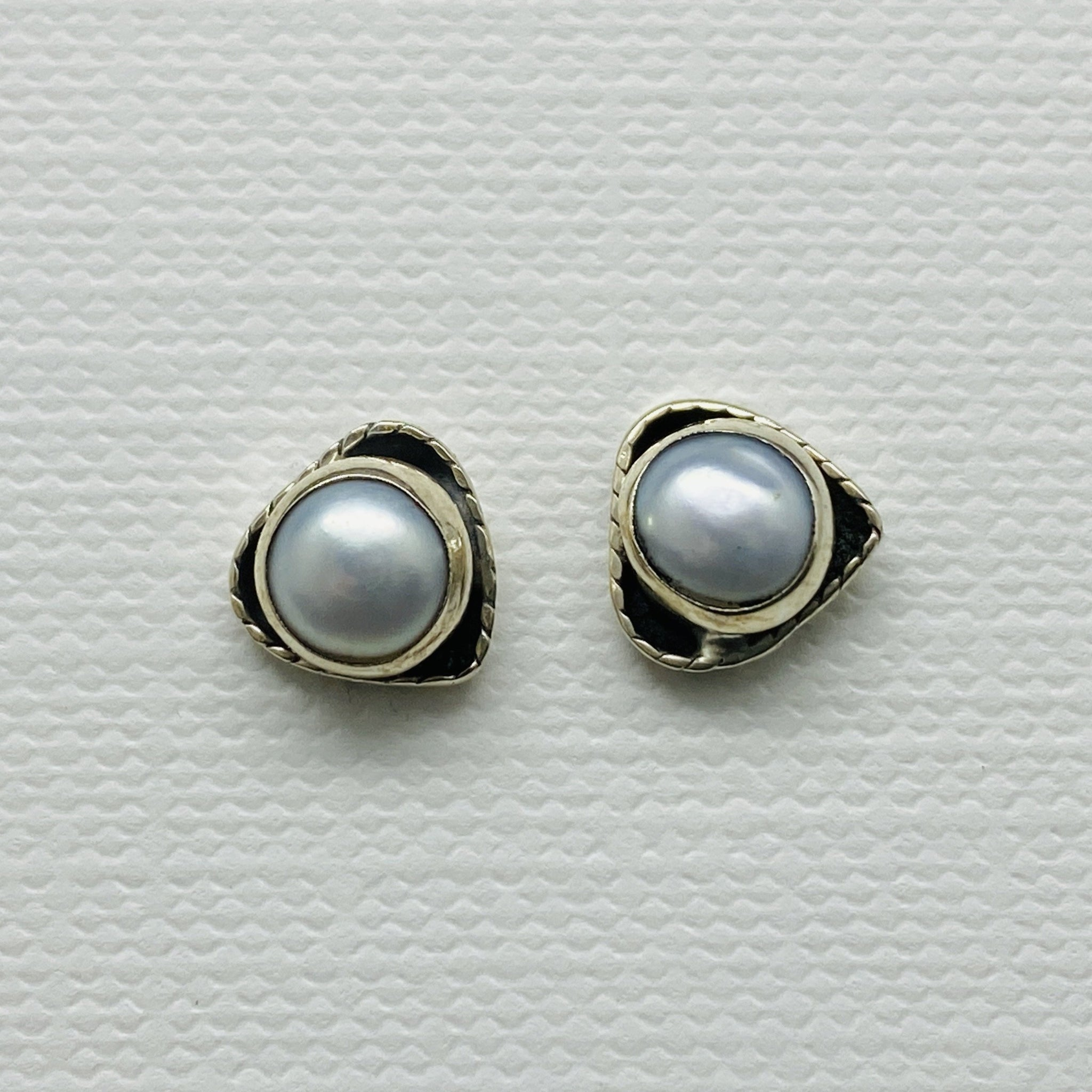 sterling silver pearl stud post stone earrings