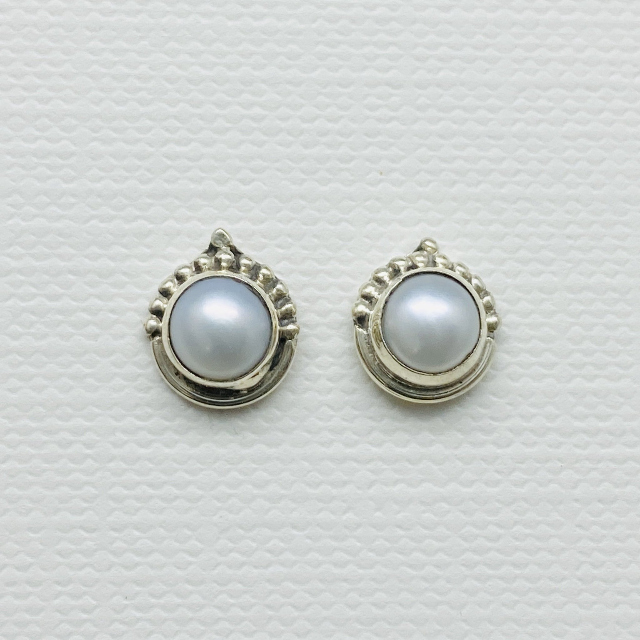 sterling silver pearl stud post earrings