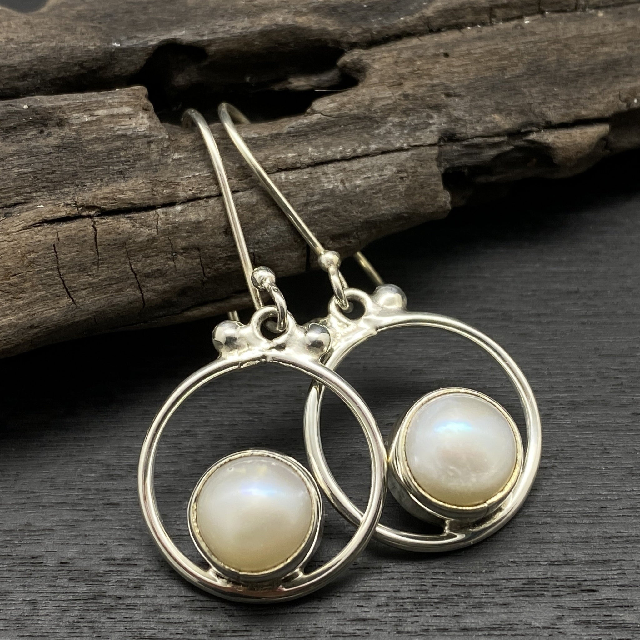 sterling silver pearl dangle stone earrings