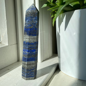 Matte Lapis Stone Tower With Pyrite