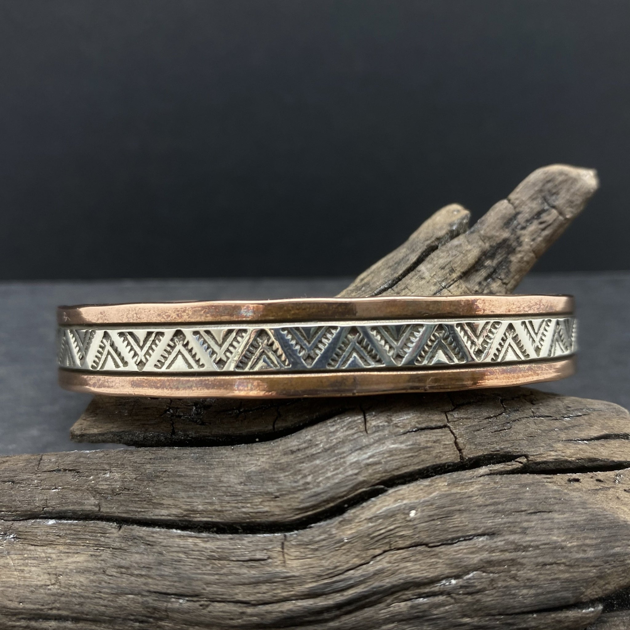 heavy weight copper stamped silver cuff bracelet Navajo Artist Randy Secatero Sylvana Apache